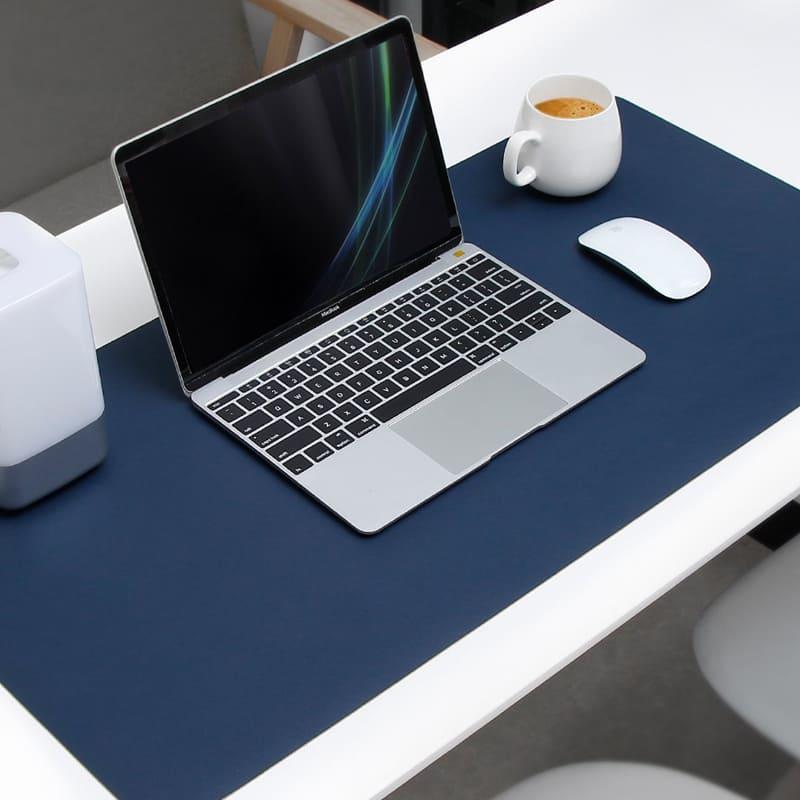 Thảm da thật trải bàn làm việc màu xanh navy